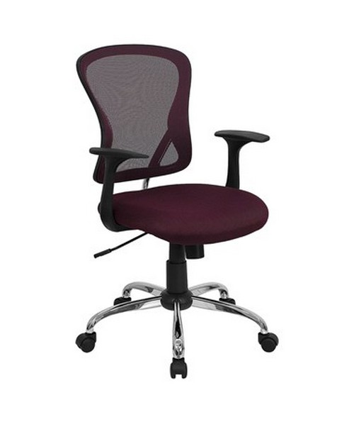 Mid-Back Burgundy Mesh Office Chair with Chrome Finished Base [H-8369F-ALL-BY-GG] FLFH-8369F-ALL-BY-GG