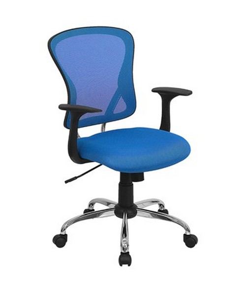 Mid-Back Blue Mesh Office Chair with Chrome Finished Base [H-8369F-BL-GG] FLFH-8369F-BL-GG