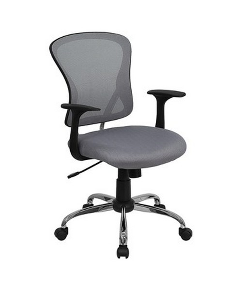 Mid-Back Gray Mesh Office Chair with Chrome Finished Base [H-8369F-GY-GG] FLFH-8369F-GY-GG