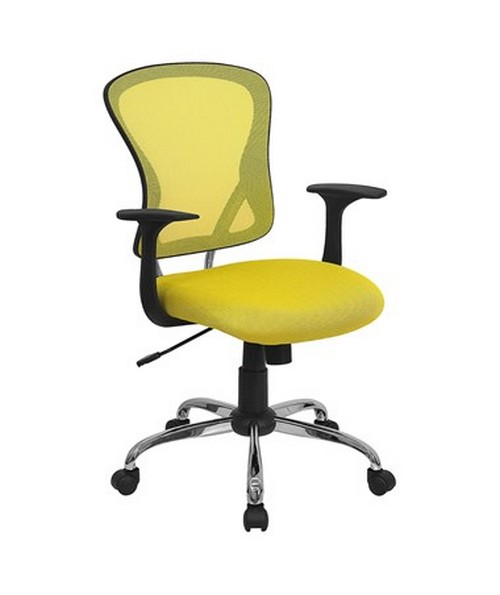 Mid-Back Yellow Mesh Office Chair with Chrome Finished Base [H-8369F-YEL-GG] FLFH-8369F-YEL-GG