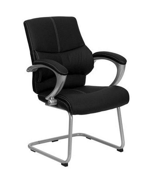 Black Leather Executive Side Chair [H-9637L-3-SIDE-GG] FLFH-9637L-3-SIDE-GG