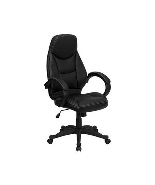 High Back Black Leather Contemporary Office Chair [H-HLC-0005-HIGH-1B-GG] FLFH-HLC-0005-HIGH-1B-GG