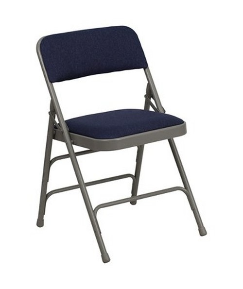 Hercules Series Curved Triple Braced & Quad Hinged Navy Fabric Upholstered Metal Folding Chair FLFHA-MC309AF-NVY-GG
