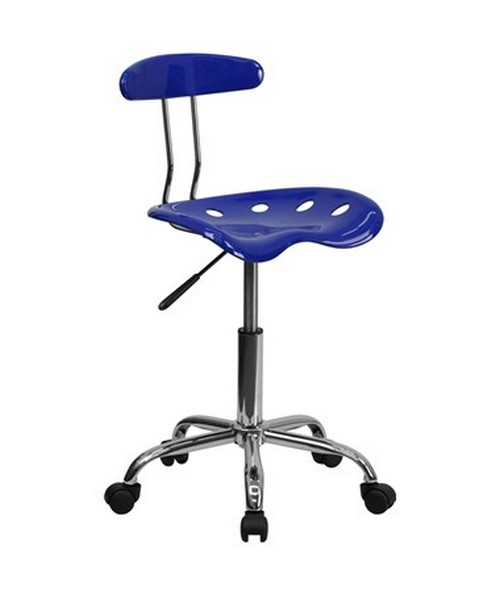 Vibrant Nautical Blue and Chrome Computer Task Chair with Tractor Seat [LF-214-NAUTICALBLUE-GG] FLFLF-214-NAUTICALBLUE-GG