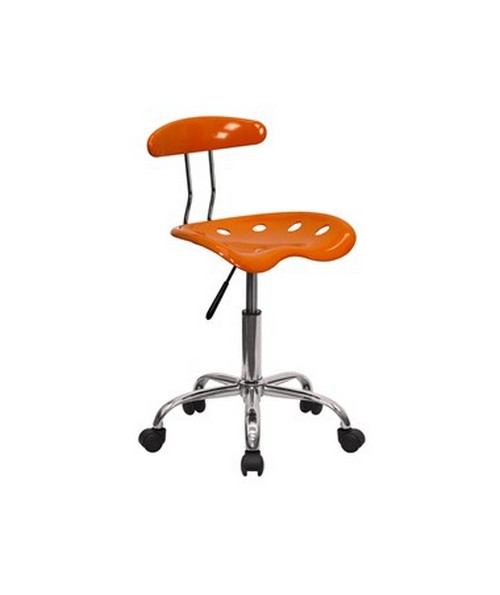 Vibrant Orange and Chrome Computer Task Chair with Tractor Seat [LF-214-ORANGEYELLOW-GG] FLFLF-214-ORANGEYELLOW-GG