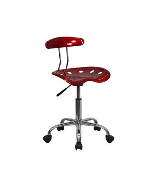 Vibrant Wine Red and Chrome Computer Task Chair with Tractor Seat [LF-214-WINERED-GG] FLFLF-214-WINERED-GG