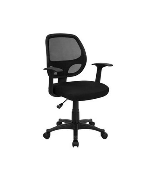 Mid-Back Black Mesh Computer Chair [LF-W-118A-BK-GG] FLFLF-W-118A-BK-GG