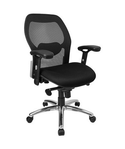 Mid-Back Super Mesh Office Chair with Black Fabric Seat and Knee Tilt Control [LF-W42-GG] FLFLF-W42-GG