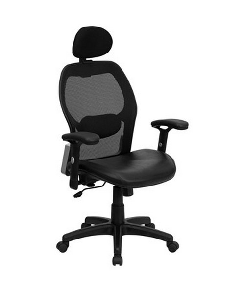 High Back Super Mesh Office Chair with Black Italian Leather Seat [LF-W42B-L-HR-GG] FLFLF-W42B-L-HR-GG