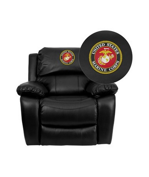 Dreamweaver Black Leather Rocker Recliner [MEN-DA3439-91-BK-EMB-GG] FLFMEN-DA3439-91-BK-EMB-GG