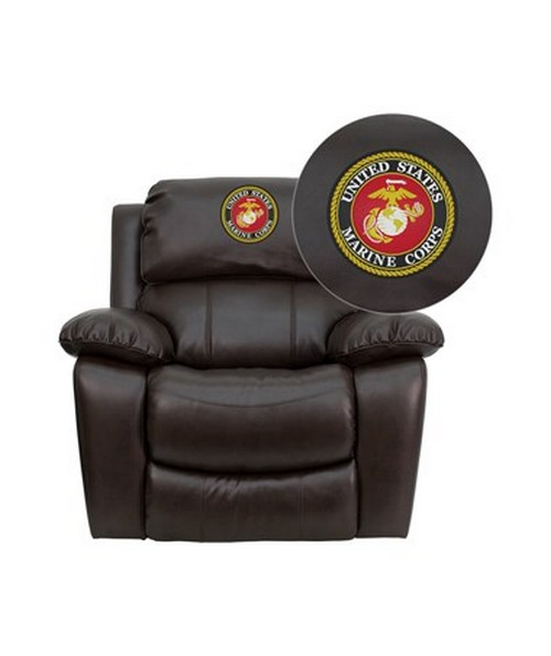 Dreamweaver Brown Leather Rocker Recliner [MEN-DA3439-91-BRN-EMB-GG] FLFMEN-DA3439-91-BRN-EMB-GG