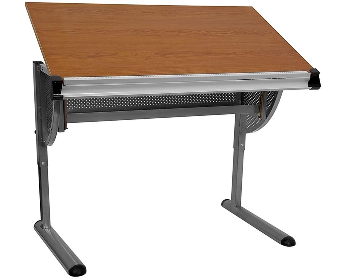 Adjustable Drawing and Drafting Table with Pewter Frame [NAN-JN-2433-GG] FLFNAN-JN-2433-GG