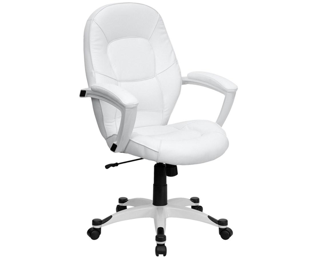 Mid-Back White Leather Executive Office Chair [QD-5058M-WHITE-GG] FLFQD-5058M-WHITE-GG
