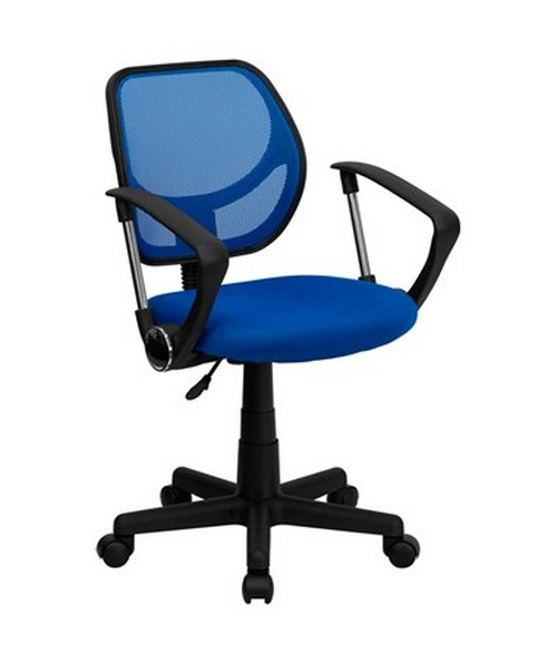 Mid-Back Blue Mesh Task Chair and Computer Chair with Arms [WA-3074-BL-A-GG] FLFWA-3074-BL-A-GG