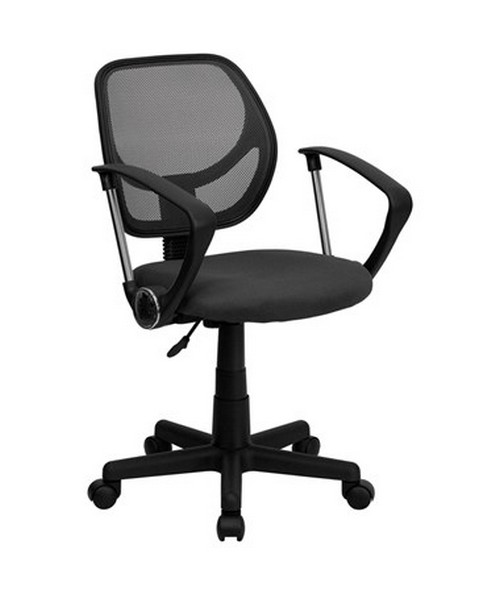 Mid-Back Gray Mesh Task Chair and Computer Chair with Arms [WA-3074-GY-A-GG] FLFWA-3074-GY-A-GG