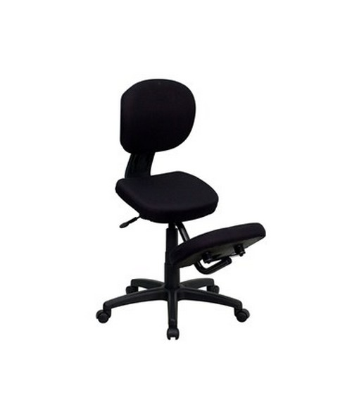 Mobile Ergonomic Kneeling Posture Task Chair in Black Fabric with Back [WL-1430-GG] FLFWL-1430-GG
