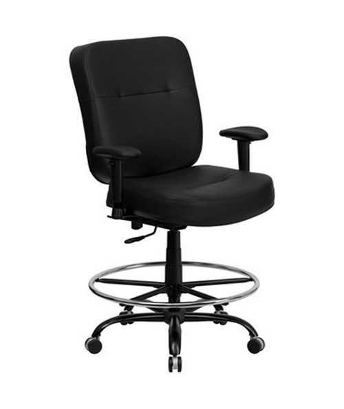 Flash Furniture Hercules Leather Drafting Chair with Arms WL-735SYG-BK-LEA-AD-GG
