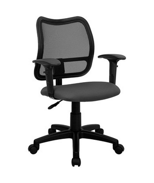 Mid-Back Mesh Task Chair with Gray Fabric Seat and Arms [WL-A277-GY-A-GG] FLFWL-A277-GY-A-GG