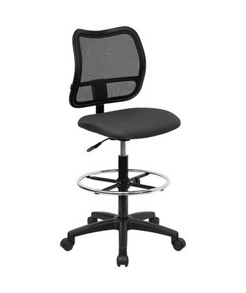 Mid-Back Mesh Drafting Stool with Gray Fabric Seat [WL-A277-GY-D-GG] FLFWL-A277-GY-D-GG