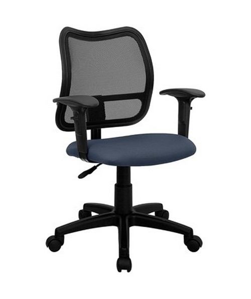 Mid-Back Mesh Task Chair with Navy Blue Fabric Seat and Arms [WL-A277-NVY-A-GG] FLFWL-A277-NVY-A-GG