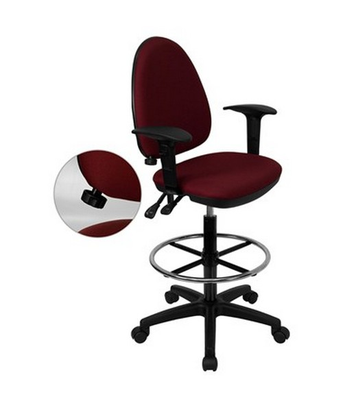 Mid-Back Burgundy Fabric Multi-Functional Drafting Stool with Arms and Adjustable Lumbar Support [WL-A654MG-BY-AD-GG] FLFWL-A654MG-BY-AD-GG