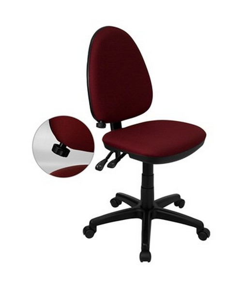Mid-Back Burgundy Fabric Multi-Functional Task Chair with Adjustable Lumbar Support [WL-A654MG-BY-GG] FLFWL-A654MG-BY-GG