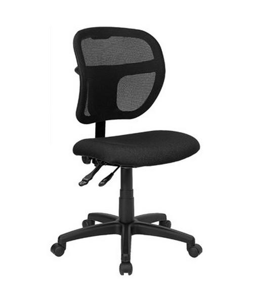 Mid-Back Mesh Task Chair with Black Fabric Seat [WL-A7671SYG-BK-GG] FLFWL-A7671SYG-BK-GG
