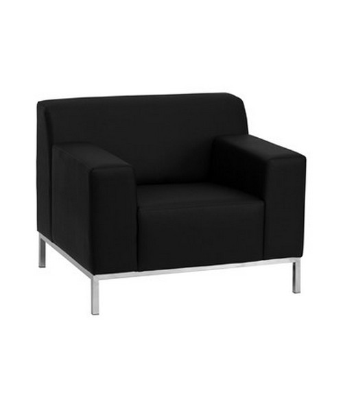 HERCULES Definity Series Contemporary Black Leather Chair with Stainless Steel Frame [ZB-DEFINITY-8009-CHAIR-BK-GG] FLFZB-DEFINITY-8009-CHAIR-BK-GG