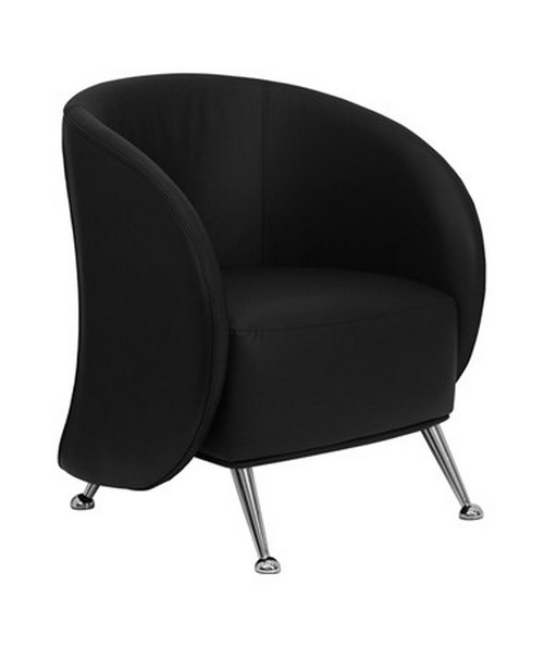 HERCULES Jet Series Black Leather Reception Chair [ZB-JET-855-BLACK-GG] FLFZB-JET-855-BLACK-GG