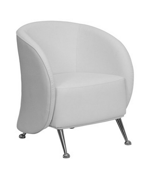 HERCULES Jet Series White Leather Reception Chair [ZB-JET-855-WH-GG] FLFZB-JET-855-WH-GG
