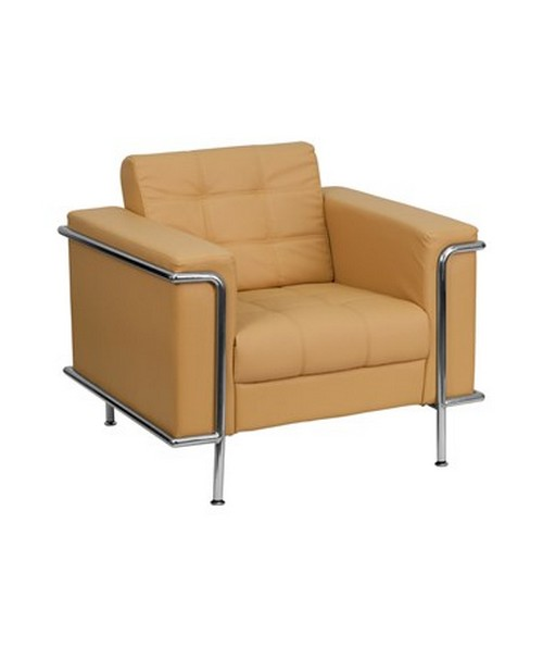 HERCULES Lesley Series Contemporary Light Brown Leather Chair with Encasing Frame [ZB-LESLEY-8090-CHAIR-BRN-GG] FLFZB-LESLEY-8090-CHAIR-BRN-GG