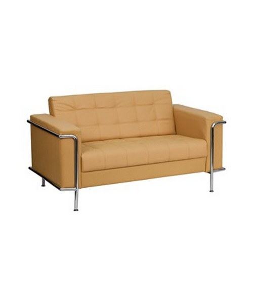HERCULES Lesley Series Contemporary Light Brown Leather Love Seat with Encasing Frame [ZB-LESLEY-8090-LS-BRN-GG] FLFZB-LESLEY-8090-LS-BRN-GG