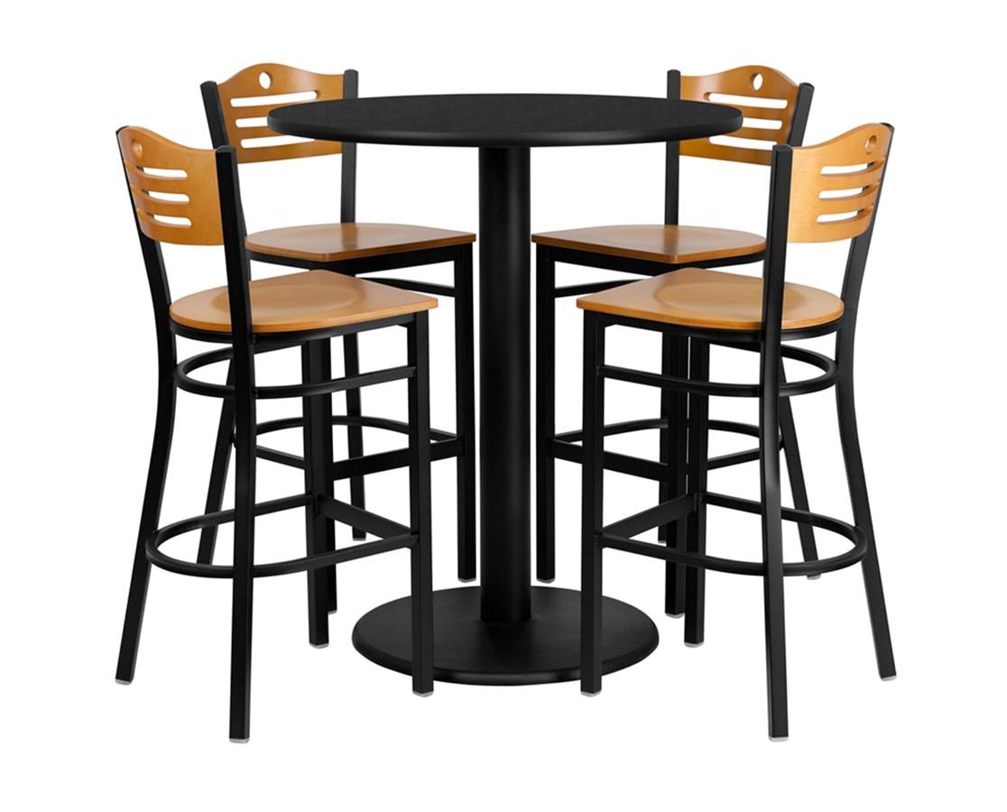 36'' Round Black Laminate Table Set with 4 Wood Slat Back Metal Bar Stools - Natural Wood Seat [MD-0020-GG] FLFmd-0020-gg