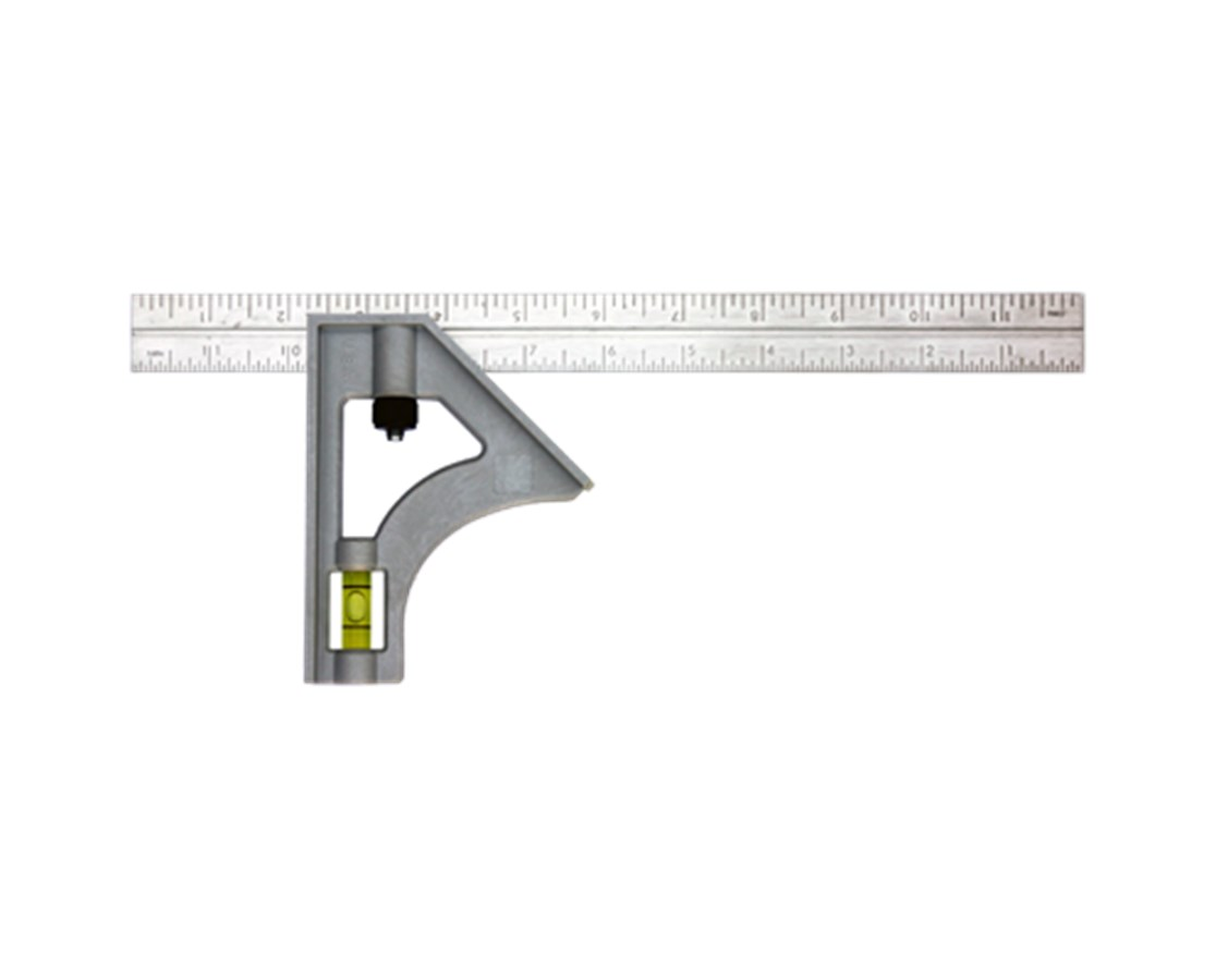 "Johnson Level 12"" Inch/Metric Structo-Cast Stainless Steel Combination Square JOH415"