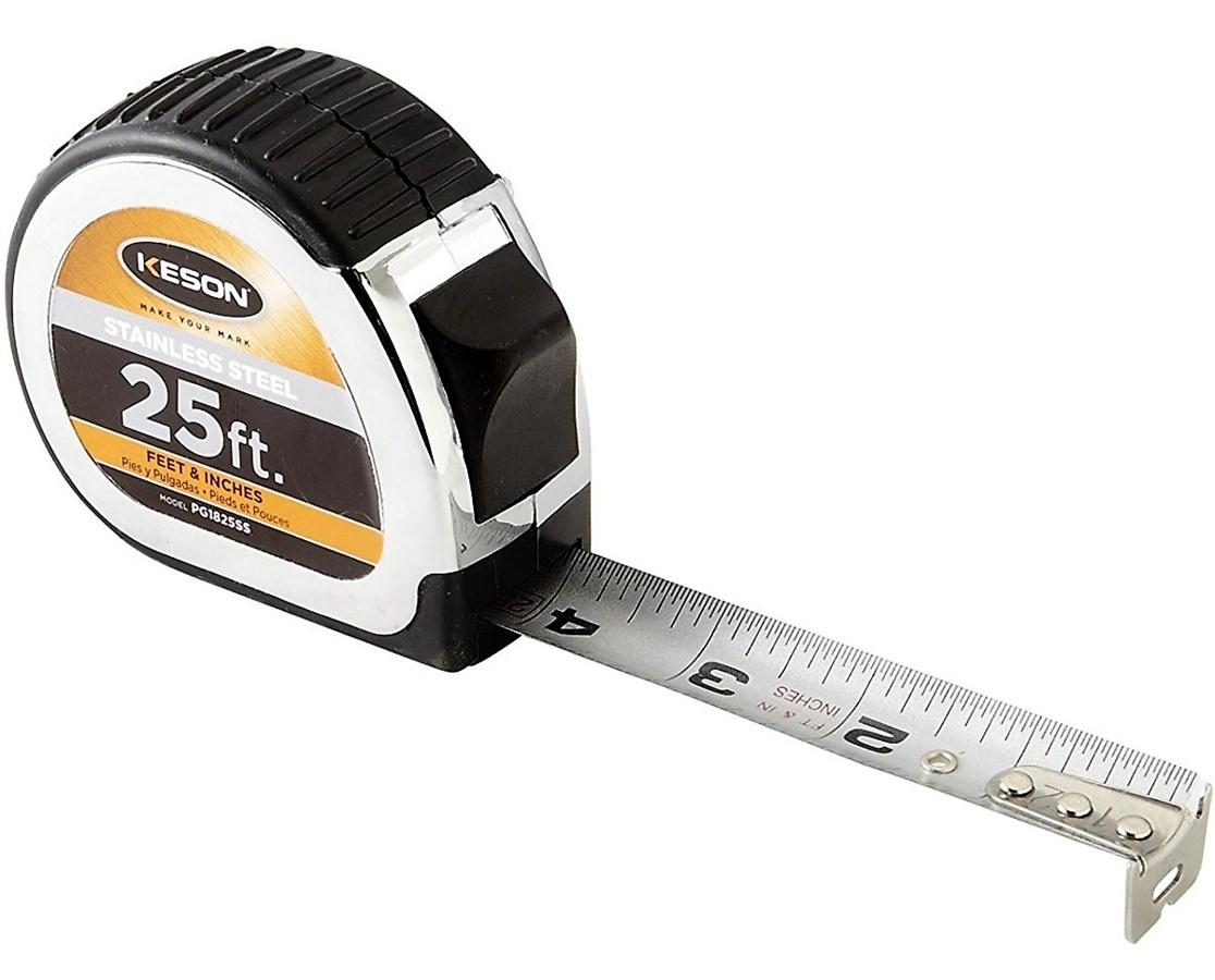 Keson 25 Feet Stainless Steel Short Tape, Nylon Coated Blade KESPG1825SS-