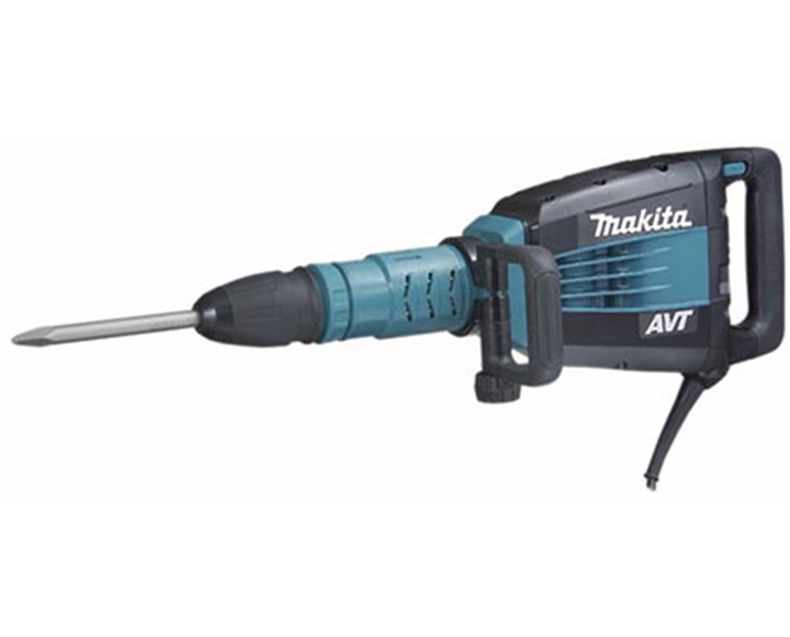 Makita HM1214C 27 lb. AVT Demolition Hammer with Rolling Tool Case; SDS-MAX Bits MAKHM1214C