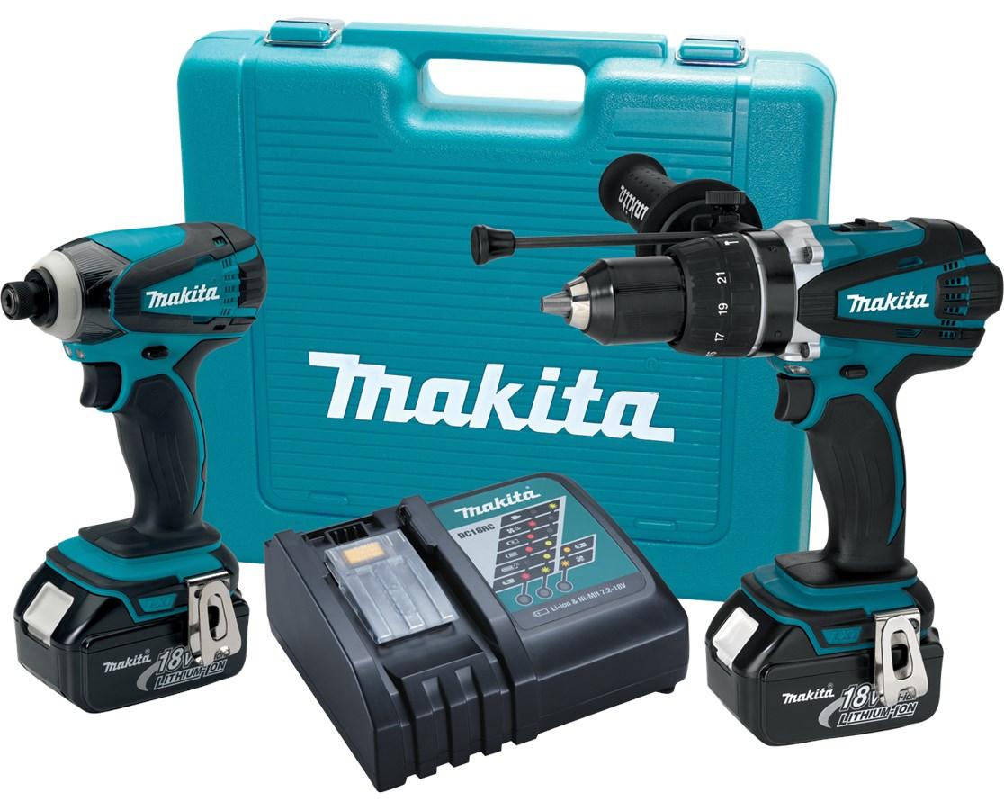 Makita LXT218 18V LXT Lithium-Ion Cordless 2-Pc. Combo Kit BHP454Z, BTD141Z MAKLXT218