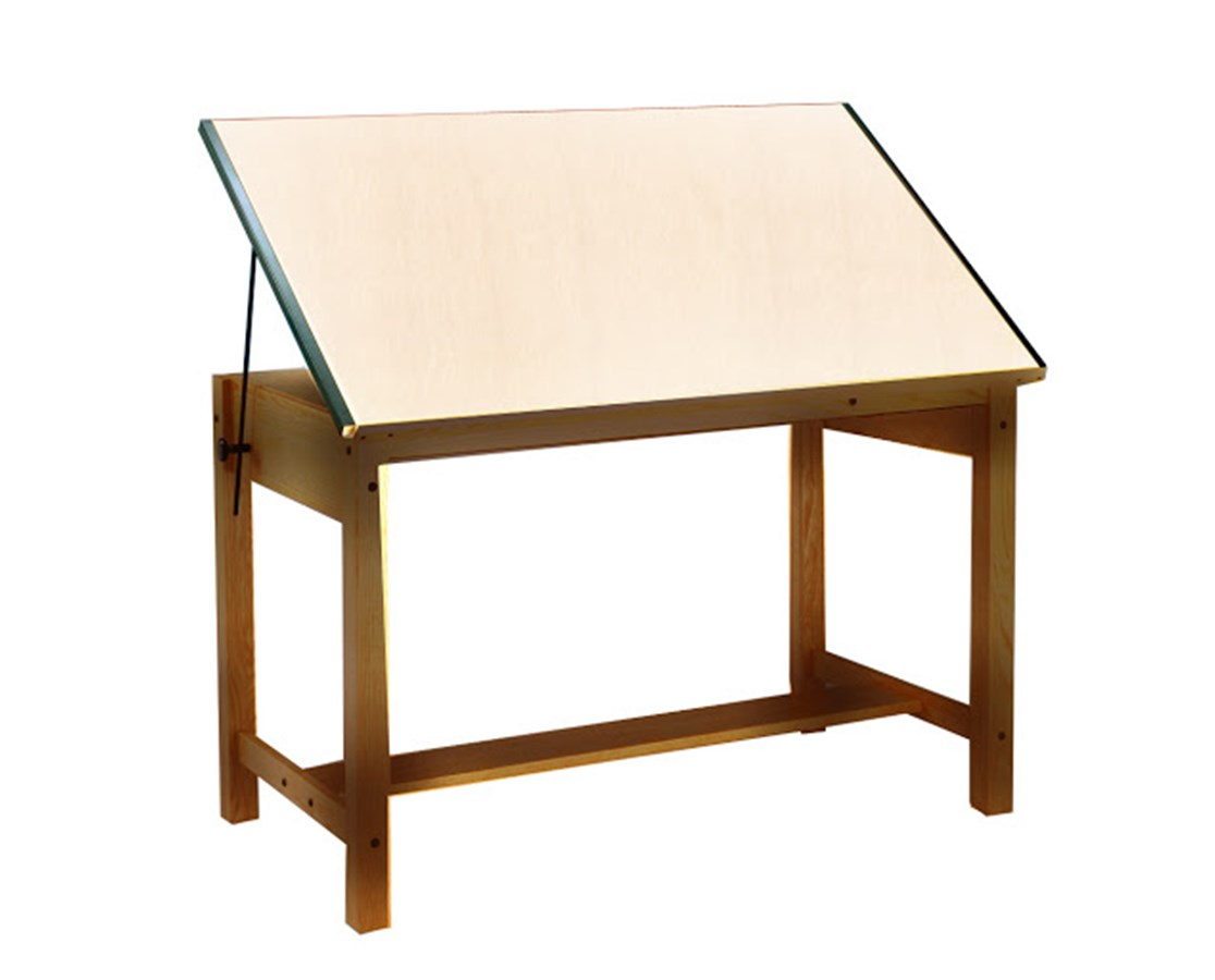 Mayline Ranger Wood Four Post Drawing Table Golden Oak 7706