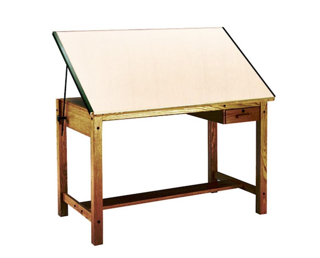 Mayline Drawing Table with Tool Drawer Golden Oak 7706A