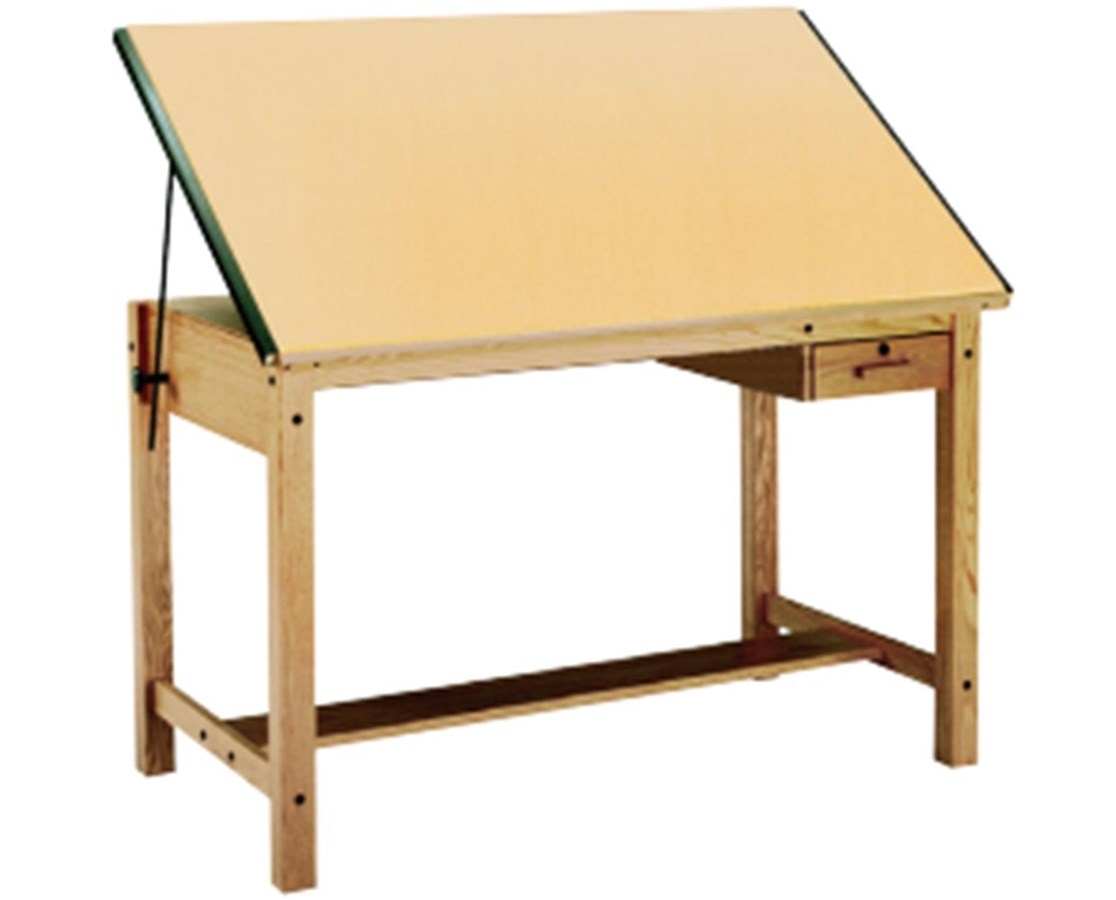 Mayline Ranger Drafting Table with Tool Drawer Unfinished Oak MAY7706A-U