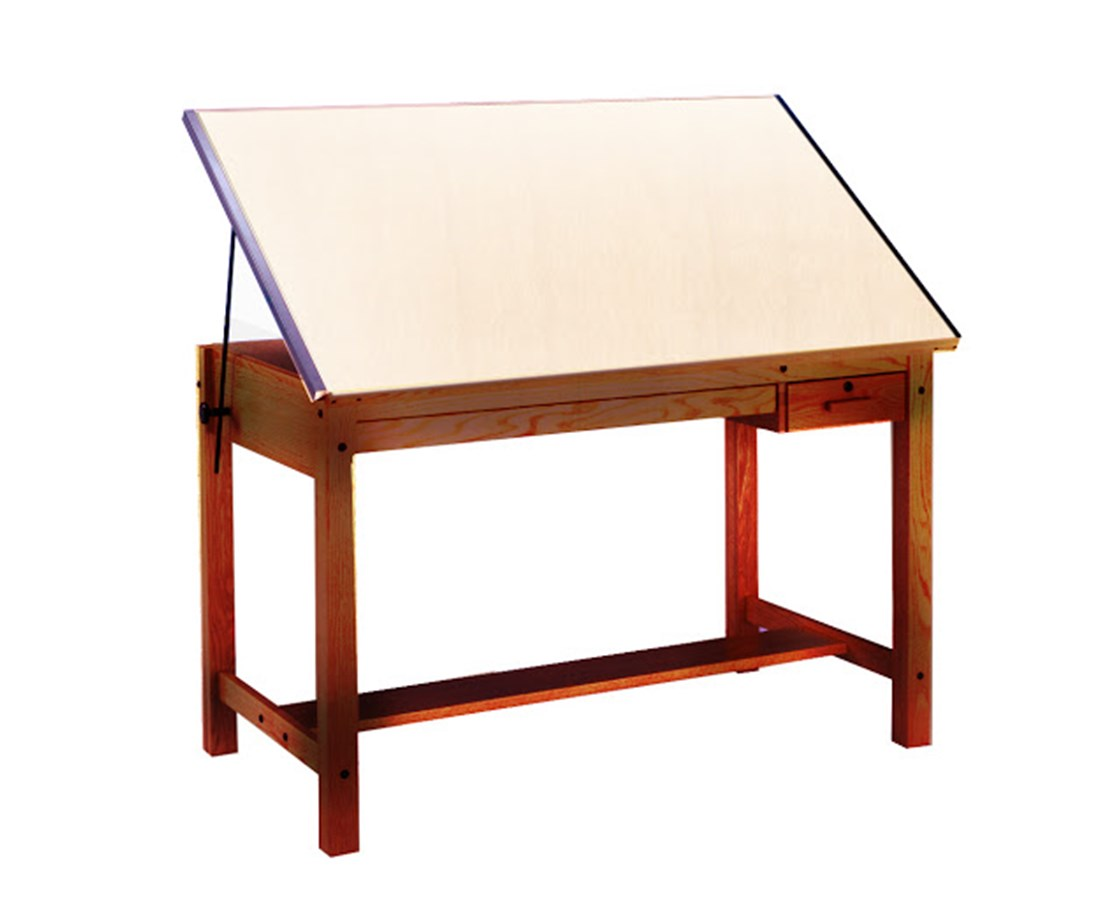 Mayline Four Post Drawing Table with 2 Drawers Golden Oak 7706B