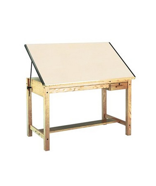Mayline Drawing Table with 2 Drawers Naturalist Oak 7706B