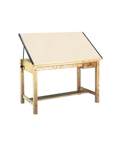 Mayline Oak Drafting Table 4 Post