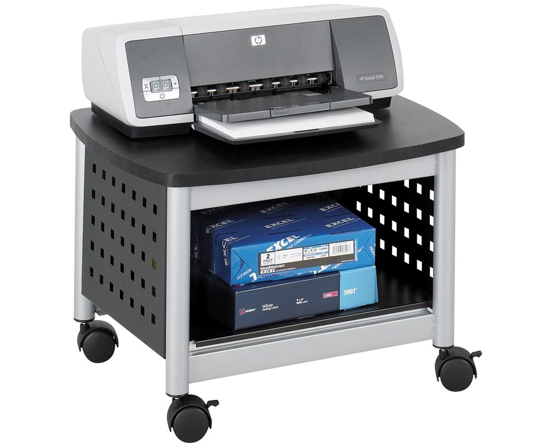 SAFCO1855BL-Scoot™ Underdesk Printer Stand Black/Silver SAF1855BL