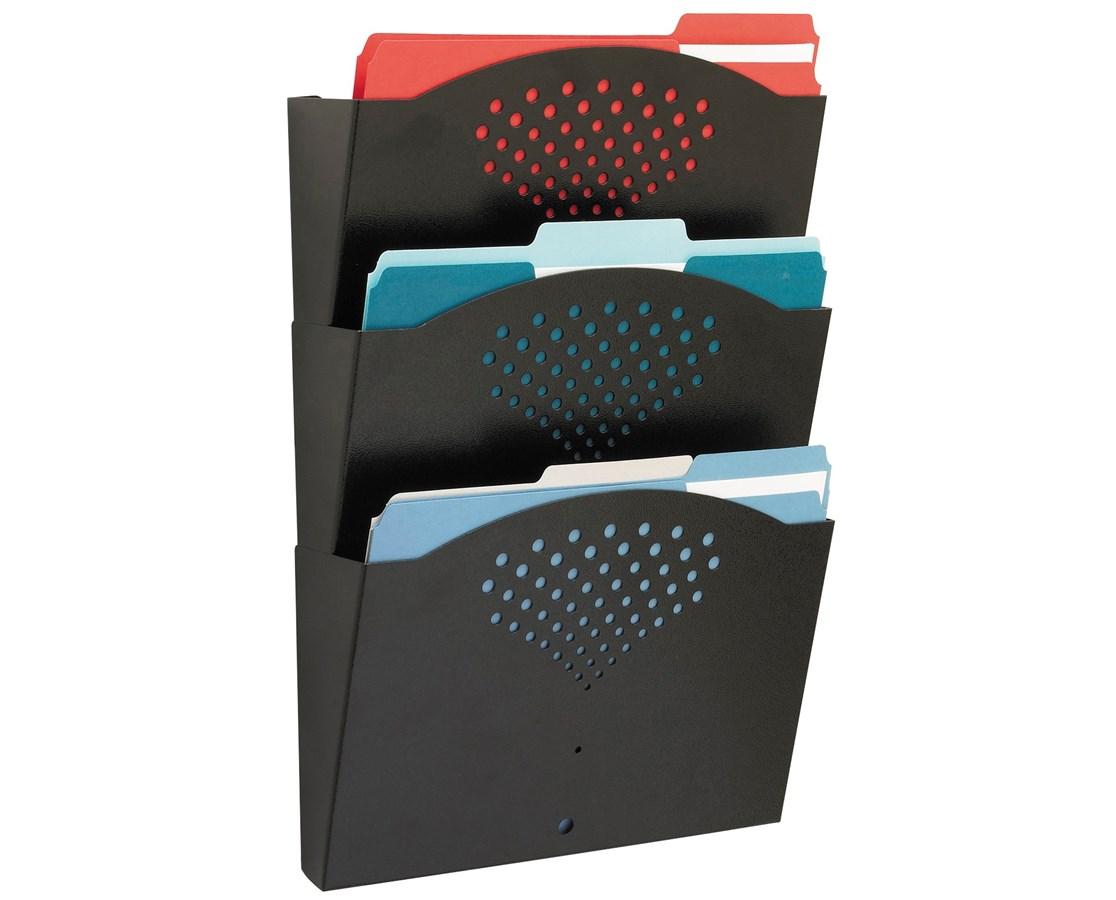 SAFCO3172BL-Triple Tray Letter Size Steel Wall Rack Black SAF3172BL