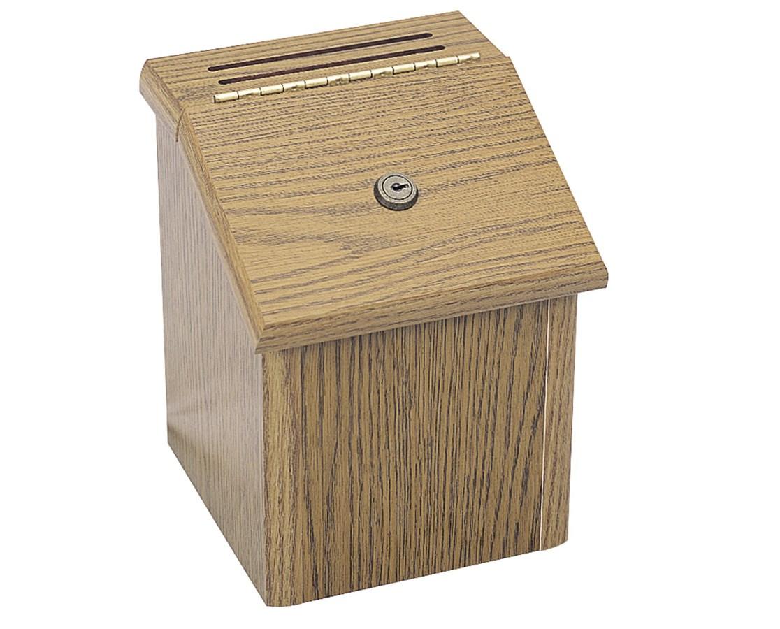 SAFCO4230MO-Wood Locking Suggestion Box Medium Oak SAF4230MO
