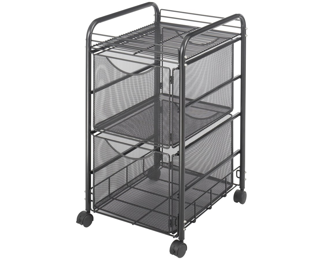 Safco Onyx™ Mesh File Cart with 2 File Drawers SAF5212BL