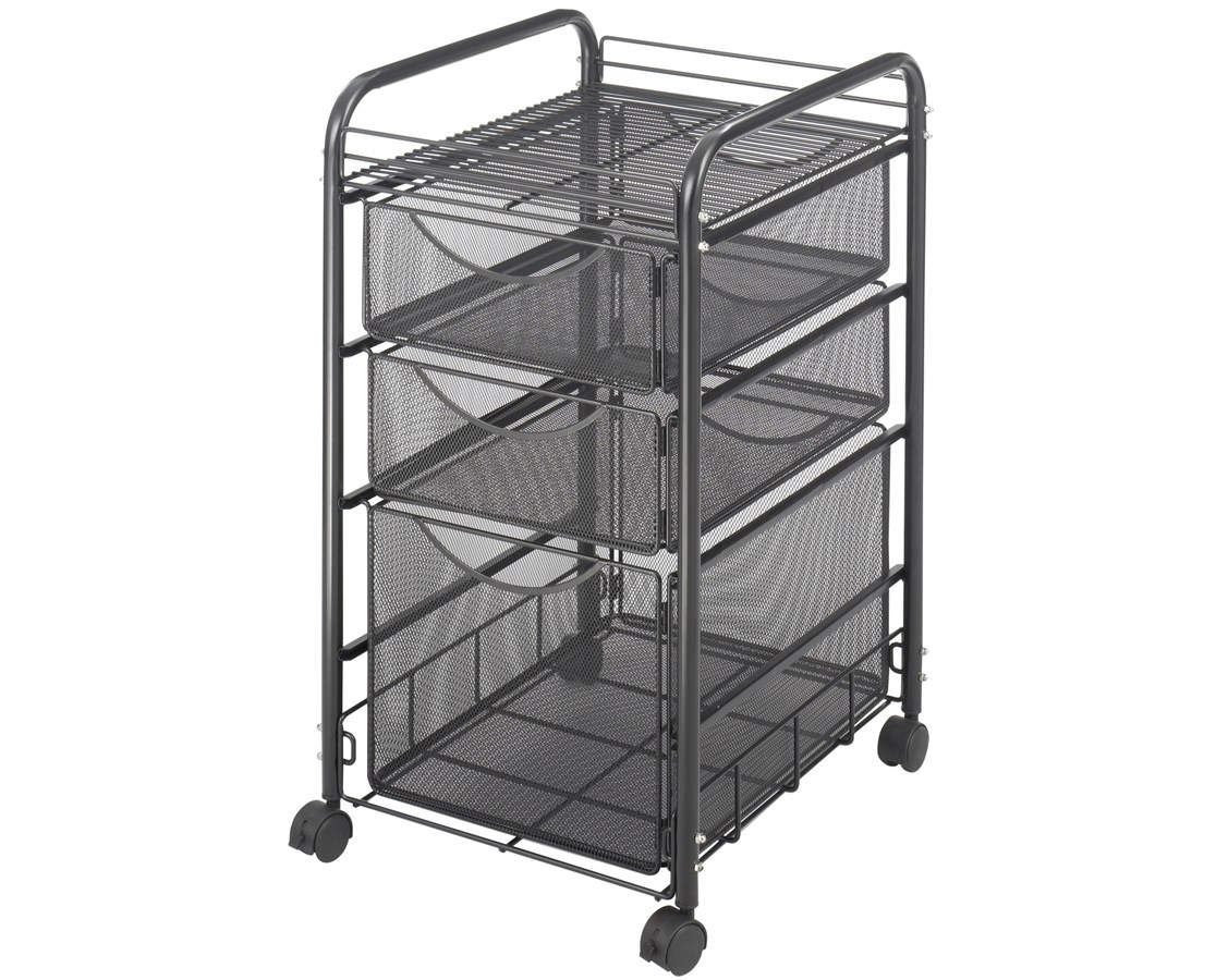 Safco Onyx™ Mesh File Cart with 1 File Drawer and 2 Small Drawers SAF5213BL