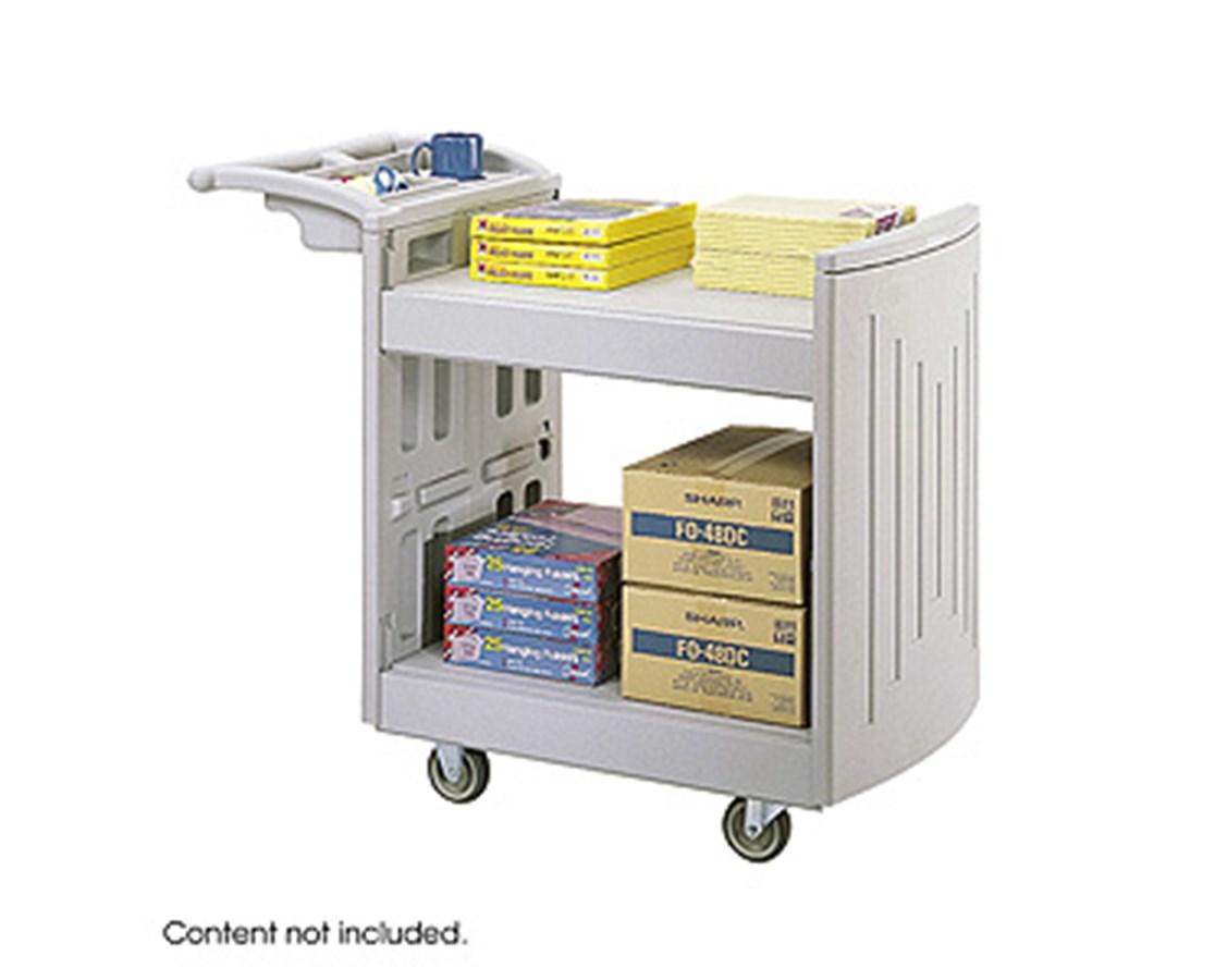 SAFCO5330GR-2-Shelf Molded Utility Cart Gray SAF5330GR