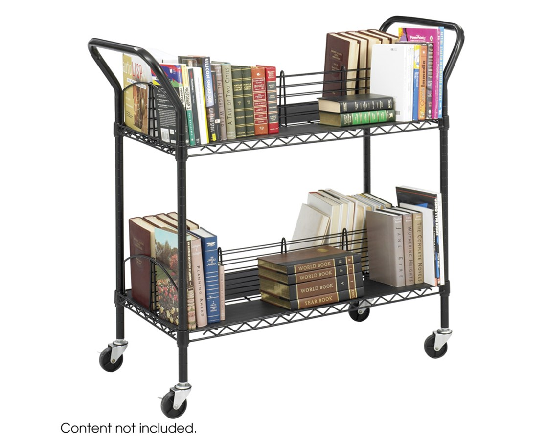 SAFCO5333BL-Wire Book Cart Black SAF5333BL